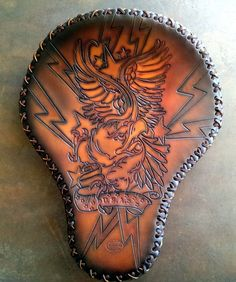Amazing work by these folks! Custom belts for adults and kids too! -- Eagle Leather Motorcycle Seat Hand Tooled by SanFilippoLeather, $799.00