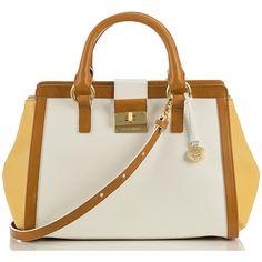 Brahmin Annabelle Satchel Bag (6,695 MXN) ❤ liked on Polyvore featuring bags, handbags, yellow, saffiano leather handbags, yellow handbag, brahmin purses, zipper purse and brahmin handbags