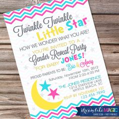 Gender Reveal Twinkle Twinkle Little Star Invitation with Stars Moon Pink or Blue Invite Boy or Girl Baby Reveal Printable Gender Reveal Invitations, Party Invitations, Invites, Baby Reveal Cakes, Baby Diy Projects, Baby Boy Or Girl, Baby Baby, Gender Party, Baby Shower Gender Reveal
