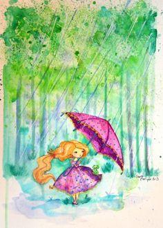 fillette au parapluie dans la foret en aquarelle...Ptit blog d'une illustratrice jeunesse Laure Phelipon
