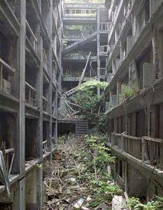 Abandoned mining town on Hashima Island, Japan.