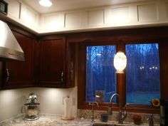What to do with Kitchen Soffit above cabinets - Kitchens Forum - GardenWeb Diy Kitchen Decor, Kitchen Redo, Home Decor, Kitchen Ideas, Condo Remodel, Kitchen Remodel, Home Renovation, Home Remodeling, Staining Cabinets