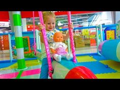 Stacy at Indoor Playground Kids Indoor Play Area, Indoor Playground, Kids Nursery Rhymes Songs, Simple Art, Easy Art, Coloring For Kids, Baby Dolls, Kids Rugs, Baby Born