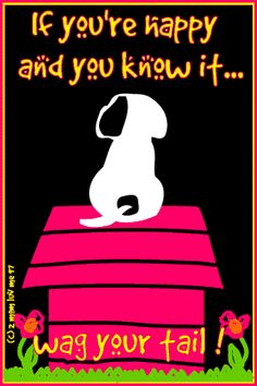 If you're happy and you know it, wag your tail. I Love Dogs, Puppy Love, Cute Dogs, Dog Quotes, Animal Quotes, Snoopy Quotes, Jack Russell Terrier, Happy Dogs, Dog Life