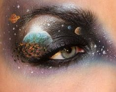 Galaxy, Space, Universe, Solar System, Planets, Stars... Eye Makeup? Yes!