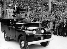 Queen Elizabeth and Prince Philip in an early 1950s Series Land Rover.