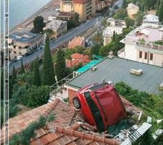 Car Fallen On Home Terrace Funny Picture For Whatsapp