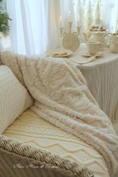 Shades of White ~afternoon tea White Cottage, Cozy Cottage, Shabby Cottage, Cottage Style, Hygge, Wabi Sabi, Jeanne D'arc Living, Cozy Corner, Cozy Place