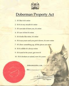 free printable funny doberman property laws