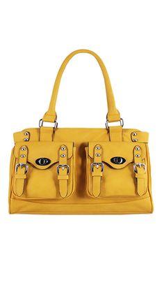 Double Pocket Shoulder Bag in Yellow.