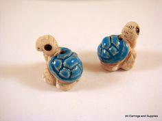 2 Ceramic Turtle Beads Blue Hand Painted Glazed 16x14mm - 2 pc - 5960