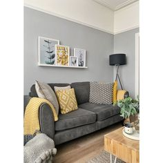 Picture shelf above sofa in Victorian terrace house. Botanical prints, grey and … Picture shelf above sofa in Victorian terrace house. Botanical prints, grey and mustard colours. Mustard Living Rooms, Grey And Yellow Living Room, Navy Living Rooms, Living Room Grey, Living Room Sofa, Home Living Room, Apartment Living, Living Room Ideas With Grey Sofa, Grey Living Room Inspiration