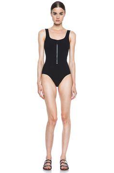 06d43a0f87 Lisa Marie Fernandez Jasmine Nylon-Blend Maillot in Black Pucker | FWRD [1]