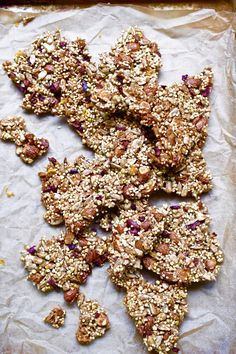 A healthy delicious snack that's easy to make and nothing processed! Add chocolate or nuts/seeds of choice. Yummy Healthy Snacks, Healthy Treats, Yummy Treats, Healthy Slices, Brittle Recipes, Coconut Ice Cream, Cacao Nibs, Mini Chocolate Chips, Shredded Coconut
