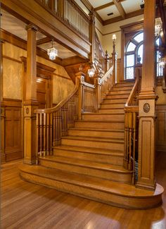 Photo Friday: Restorations - Utah Style and Design Stairs Window, Window Frames, Victorian Stairs, Quiet Dishwashers, Victorian Interiors, Victorian Architecture, Treads And Risers, Stair Climbing, Small Fireplace