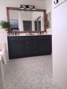 The before photos really make you go wow! I'm not sure i'd have the guts to go black or even dark gray, but this really works! Floor would work for my office...it it was tiled. This blogger didn't seal the floor, doesn't say if it chipped. Hum.