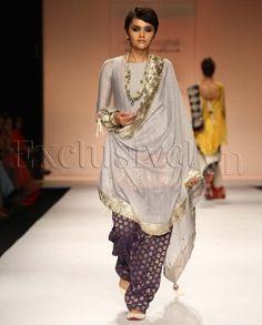 #IndianEthnicWear, #IndianWear, #Fashion, Tabassum Grey Cropped Anarkali Suit