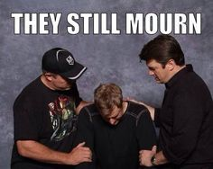 Only Browncoats will understand this. This picture of Adam Baldwin, Alan Tudyk, & Nathan Fillion was taken at Wizard World. Awesome pic but it makes me want to cry! Adam Baldwin, Nathan Fillion, Firefly Serenity, Joss Whedon, Buffy The Vampire Slayer, Inevitable, Best Tv Shows, Science Fiction, Nerdy