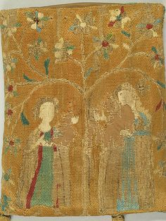 Purse with Two Figures under a Tree - 14th C French - Metropolitan Museum of Art - New York # 27.48.3