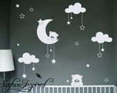 Nursery Wall Decals Baby Cuddly Bears Vinyl Wall Decal - can change the colors of the decals too.