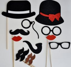 They are shipped with bambo sticks attached 11 pc as seen in picture Bamboo Sticks are attached to all Photo Booth Props on a Stick  1 Bowler  1 Ladies