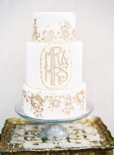 Golden Mr & Mrs cake | by Melissa's Fine Pastries