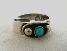 Erik Granit, vintage modernist sterling silver ring with turquoise stone. #Finland