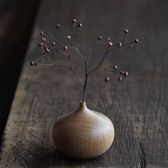 Onion Vase. Takehito Ichikawa's handmade wood vases are designed for use with dry or artificial flowers.