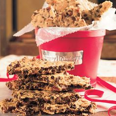 """Pecan-Chocolate Chip Cookie Brittle  This recipe is called """"brittle"""" because it's a big slab of crisp chocolate chip cookie that you break into irregular pieces                                after it bakes. Package in a cookie jar or in a decorative tin for a festive and sweet twist on chocolate chip cookies."""