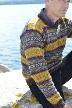 """Retro Faroese Sweater green/purple. Kits for my book FANØSTRIK - Colours of Fanø - You find the knittingpattern in my Knittingbook """"Fanøstrik - Colours of Fanø"""""""
