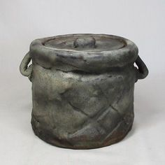 B275-Japanese-old-pottery-water-jar-MIZUSASHI-of-good-atmosphere