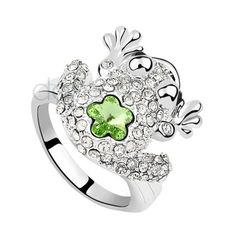 Kristall Legierung Blumen Ring in Tier-Form[DE16EE2PN] - Dameo.de ($19) via Polyvore