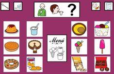 """""""Tablero de comunicación: Postre"""". Recopilación de  diferentes tableros de comunicación de 12 casillas, organizados por necesidades básicas y centros de interés.  Los tableros pueden imprimirse tal como aparecen en los documentos o bien se puede modificar el contenido, la forma, el color, etc., para adaptarlos a las características individuales de cada usuario. Pueden utilizarse también para trabajar distintos repertorios de vocabulario agrupado por temas o categorías. Spanish Practice, Food Vocabulary, Visual Aids, Projects To Try, Holiday Decor, Chore Charts, Pinocchio, Fondant, Menu"""