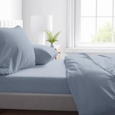 Allen + Roth 4 pc Solid sheet set makes your bed surprisingly beautiful. Breathable and Soft 300 Thread Count Sheet Set made of 100% Cotton Sateen Fabric consists of Flat Sheet, Fitted Sheet and Pillowcases. Available in tranquil colorways which adds serene look to your bedroom and offers luxurious comfort.
