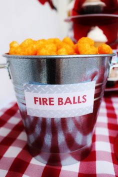 Boys Fireman Themed Birthday Party Food Cheese Balls