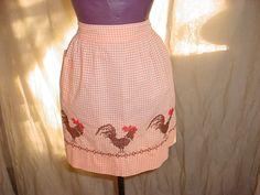 Vintage Gingham Half Apron with Pocket Orange Cross Stitch Chicken Rooster Farm Seller florasgarden on ebay