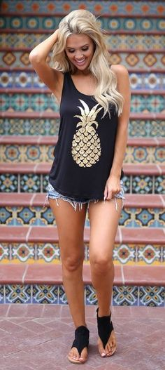 summer outfits  Pineapple Of My Eye Tank Top - Black