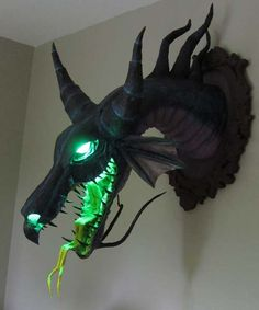 I need this on my wall! - PAPER MACHE BUST OF DRAGON MALEFICENT