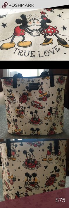 NWT  Loungefly MICKEY ❤️TRUE LOVE❤️ TATTOO tote 🎉NWT  Loungefly MICKEY ❤️TRUE LOVE❤️ TATTOO tote Large tote. Magnetic Clasp. Loungefly Bags Totes
