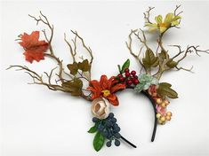 For those Mythical Autumn vibes this Fawn headband is sure to dazzle! Floral Fascinators, Floral Headdress, Fascinator Hats, Floral Headbands, Antler Headband, Flower Crown Headband, Boho Headband, Nymph Costume, Fairy Crown