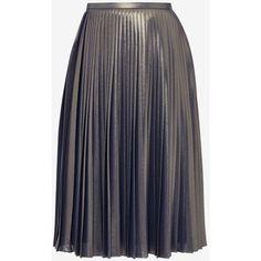 Pleated metallic midi skirt ($150) ❤ liked on Polyvore featuring skirts, blue pleated skirt, ted baker skirt, knee length pleated skirt, calf length skirts and metallic skirt