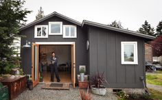Converted Garage Tiny House {I read about her in the New York Times sometime back..but there's no reason someone can't fix up their own garage for far LESS money than she did}