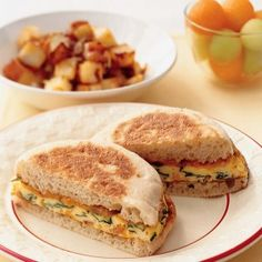 Breakfast Anytime Sandwiches with eggs, milk, spinach, bacon and freshly grated cheddar cheese.