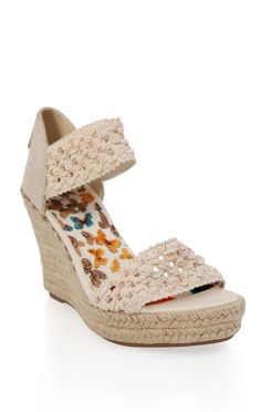 Deb Shops open toe platform #wedge with #crochet bands