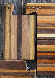 Small 'Kindling' Serving Board, Side Handle, Cutting Board, Bread Board, Repurposed Wood, Cherry, Walnut, Maple, Jatoba