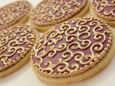 Burgundy and Gold Cookies - One Dozen Orange Vanilla Spice Cookies. via Etsy. Pink Cookies, Galletas Cookies, Fancy Cookies, Iced Cookies, Biscuit Cookies, Holiday Cookies, Cupcake Cookies, Sugar Cookies, Angel Cookies
