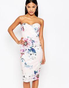 Lipsy Allover Floral Bandeau Pencil Dress