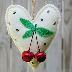 Felt Christmas heart ornaments set Set of 2 felt by LeopardValley