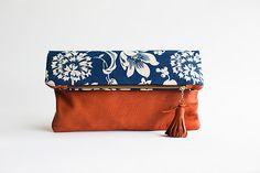 Leather clutch, foldover bag, deerskin, indigo, terracotta, orange, blue, boho floral