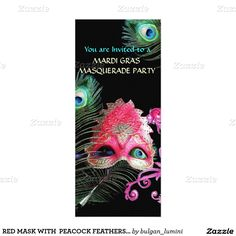 RED MASK WITH  PEACOCK FEATHERS MASQUERADE PARTY 4X9.25 PAPER INVITATION CARD